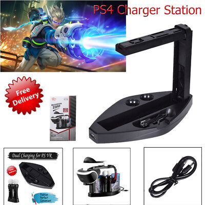 For PS4 VR Game Controller Charger Charging Dock Station Headset Stand Holder AU