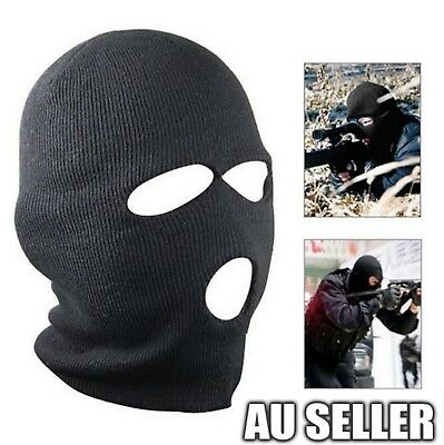 0313978d016b 3 Hole Black Balaclava SAS Style Mask Neck Warmer Ski Hat Paintball Hunt  Fishing
