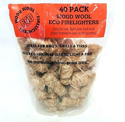 80 Pack WOOD WOOL ECO FIRELIGHTERS Easy Light BBQ GRILLS FIRES Log Burn Time