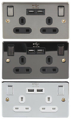 DOUBLE MAINS PLUG SOCKETS + 2 USB Charging Ports NICKEL CHROME STAINLESS STEEL