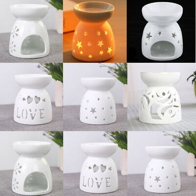 Ceramic Hollow-out Essential Oil Diffuser Oil Burner Tea Light Candle Holder