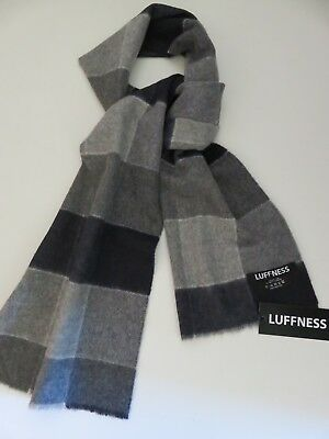 Luffness boys 100% cashmere scarf navy blue grey checked NEW made in Scotland