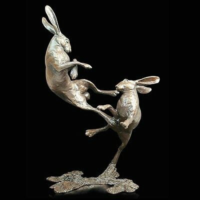 Medium Hares Boxing Solid Bronze Foundry Cast Sculpture by Michael Simpson [831]