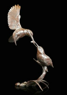 Waters Edge Kingfisher Pair Bronze Foundry Cast Sculpture Michael Simpson [997]