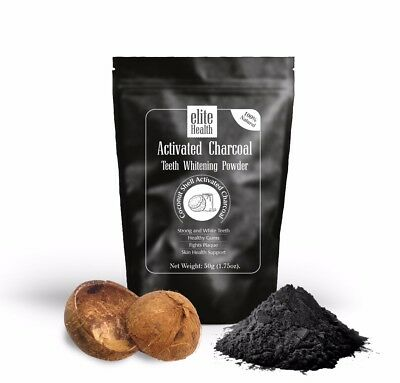 EliteHealth® Activated Charcoal Teeth Whitening Powder Pure Coconut Shells 100g
