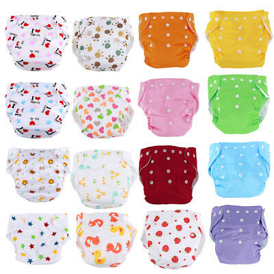 Baby Cloth Diapers Infant Nappy Nappies Adjustable Reusable Lot 5 Pcs+5 Inserts