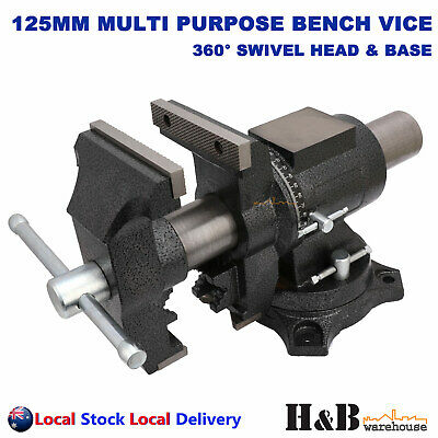 "Pro 5"" 125mm Multi Purpose Rotating Bench Vice 360 Swivel Base Head pipe Jaws"