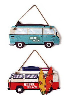 Wooden Surf Board VW Camper Van Sign Printed Wall Art Decoration Plaque Gift