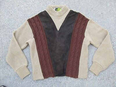 Vintage Mens Leather Cable Sweater Republic Sportswear L Wool