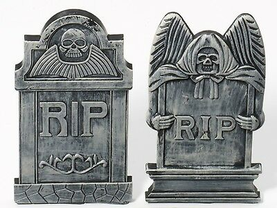 (2) Tabletop Tombstones Mini Desk Top Tomb Stone Grave Marker Halloween RIP Gray