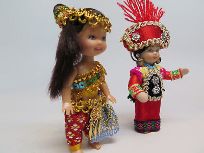 Taiwanese Doll Vintage Asian Souvenir Colorful Miniature Dolls Taiwan Lot Of 2