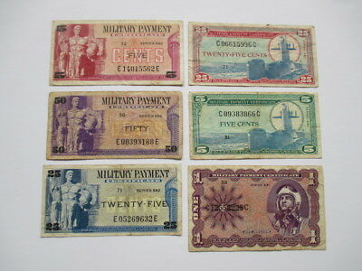 MILITARY PAYMENT CERTIFICATES LOT OF 6 NOTES - SERIES 681 and 692
