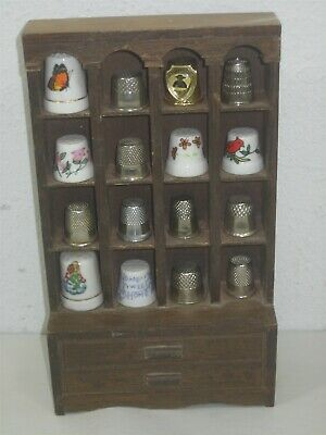 Set of 16 Vintage Thimbles With Dark Brown Wooden Display Rack For Thimbles