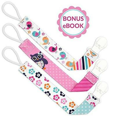 Liname Pacifier Clip for Girls with BONUS eBook - 3 Pack Gift Packaging -