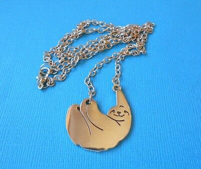 Handmade Sloth Necklace & Pendant Metal Gold Tone Wild Animal Chain Three Toed