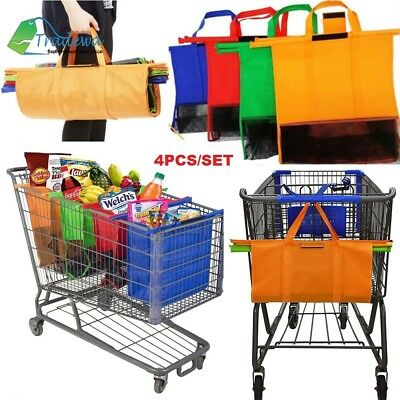 4pcs Set Grocery Shopping Basket Cart Tote Folding Collapsible One Cooler Bag