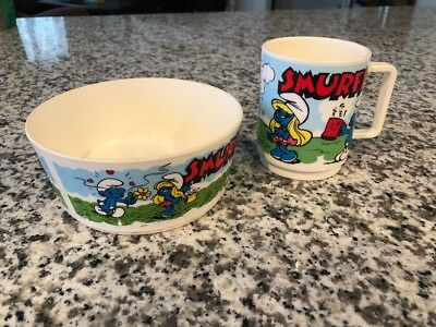 The Smurfs Deka Plastic Cereal Bowl & Cup Smurfette Clumsy Vintage 1980 Peyo