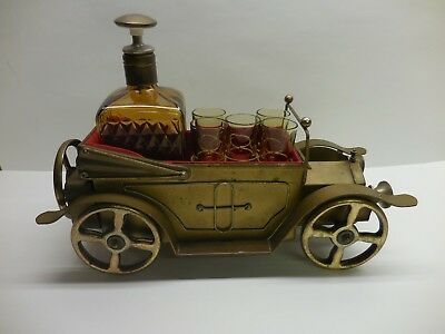 Vintage Metal Cadillac Musical Decanter & Shot Glass Set - Plays How Dry I Am