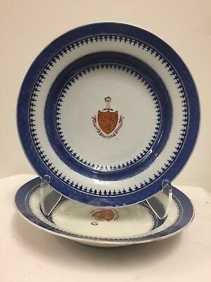 Pair of Antique Chinese Export Armorial Soup Plates, 18th century