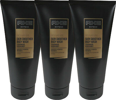 3 x 200 ml Axe Signature Cedarwood & Bergamot Skin Smoother Body Wash Duschgel