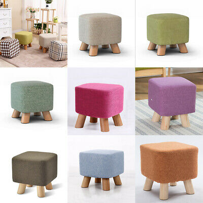 Dustproof Linen Cotton Square Stool Cover for Wood Footstool Ottoman Pouffe