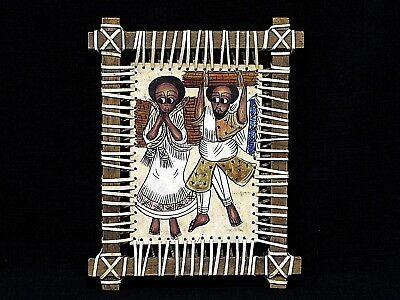 Traditional Ethiopian Painting On Leather W Rustic Mount Wood Frame