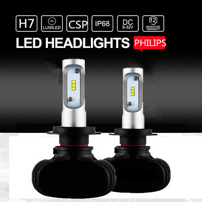 2pcs H7 50W 8000LM LED Headlight Kit High/Low Beam Bulbs PHILIPS 6500K Power