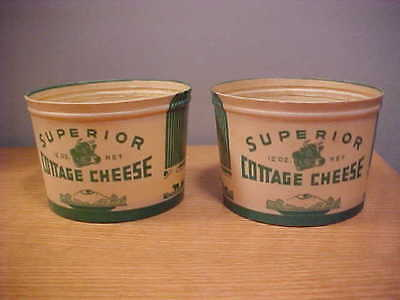 2  Vintage Superior Cottage Cheese Wax Containers  .