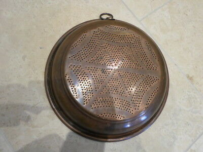 Large vintage French copper roll top sieve strainer, punched design, brass ring