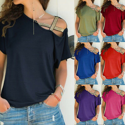 Women Casual Short Sleeve One Shoulder Loose Tops Summer Beach Blouse Cross Tank