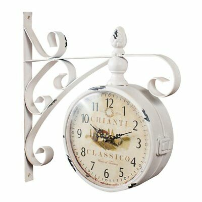 W31XDP9XH31 cm sized wrought iron made antiqued white finish double sided clock