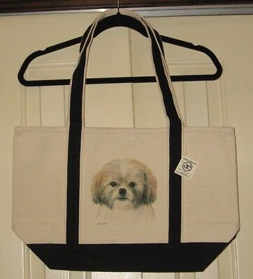 Shih Tzu Large Heavy Canvas Tote Bag - New With Tags - Hand Painted - Cute Gift!