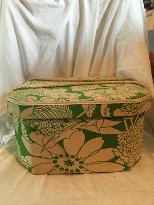 Vintage Green Flowered Cloth Singer Sewing Basket w/ Handle