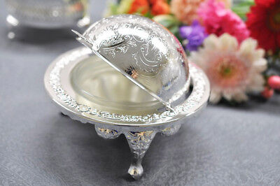Queen Anne Silver Plated Revolving Butter Dish /Globe Sugar Bowl - Gift -New