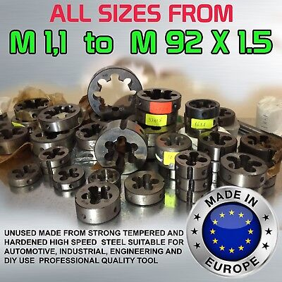 DIES HSS RIGHT ALL SIZES from M1,1 to M92X1.5 140 Variations MADE IN EU Hot Deal