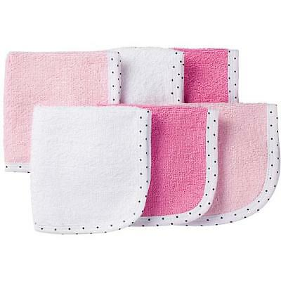 Gerber Baby Premium Washcloths 6-Pack Assorted Colors Pink White Pink