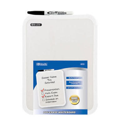 """BAZIC 8.5 X 11"""" Small Dry Erase White Board With Marker Note Study Class Student"""