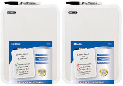 "2-Pack, BAZIC 8.5 X 11"" Small Dry Erase White Board With Marker Note Study Cl..."