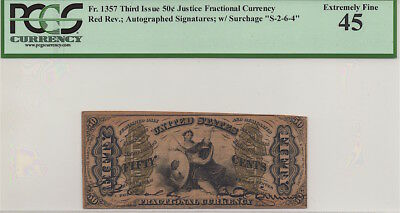 3RD ISSUE 50c JUSTICE FRACTIONAL CURRENCY, FR. 1357, PCGS EF45