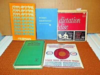 Shorthand Dictation 4 Records/Boxed + 3 Pitman Books - Vintage!