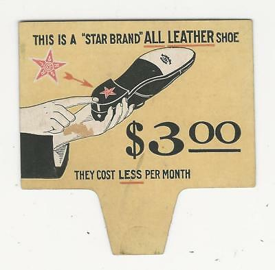 Vintage shoe advertising, store tag, STAR BRAND LEATHER MEN'S SHOE, ca1910s