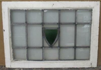 """MID SIZED OLD ENGLISH LEADED STAINED GLASS WINDOW Abstract Geometric 26 x 18.75"""""""
