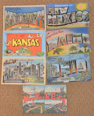 Vintage Lot of (7) 1945 BIG LETTER State Multi-View  Linen Postcards NOT Repro