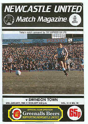 Football Programme - Newcastle United v Swindon Town - FA Cup 1988