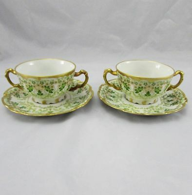 2 Antique Jean Pouyat French Limoges Hand Painted Cream Soup Bowls & Saucers