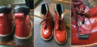 Vtg Doc Martens Cherry Red Patent Leather High Ankle Boots Lace Up Kids 13 Euc