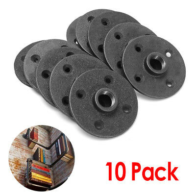 10Pcs 1/2'' Malleable Threaded Floor Flange Iron Pipe Fittings Wall Mount NPT US