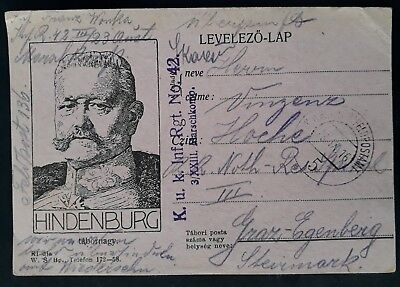 "1916 Austria- Hungary WW1 Field Post Card ""Hindenburg"" Inf Rgt No 42 cancel Graz"