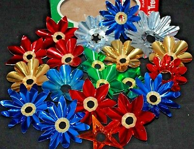 vintage lot of 20 christmas tree light reflectors aluminum red grn blu w
