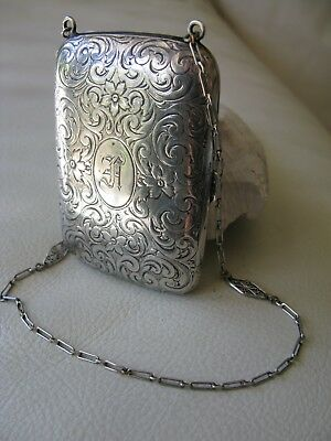 Antique Victorian Art Nouveau Floral STERLING SILVER Leather Card Case Purse A